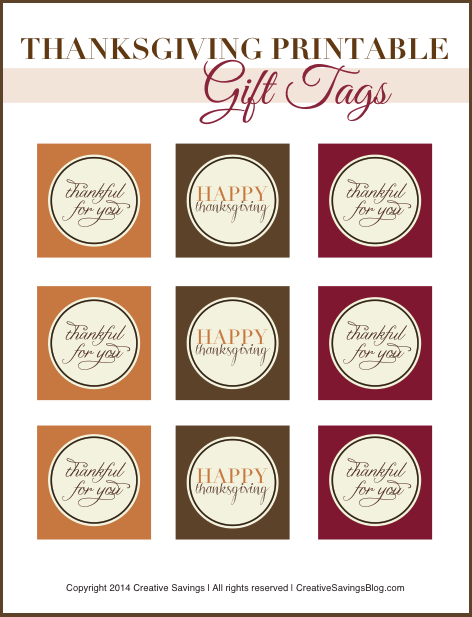 Download these FREE Thanksgiving printables and use them as favor tags for your Holiday treats!