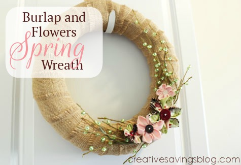 Burlap and Flowers Spring Wreath