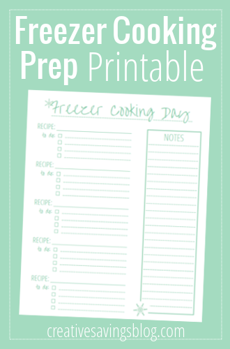 Freezer Cooking Day Prep Printable | Creative Savings