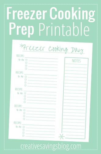 Freezer Cooking Day Prep Printable   Creative Savings