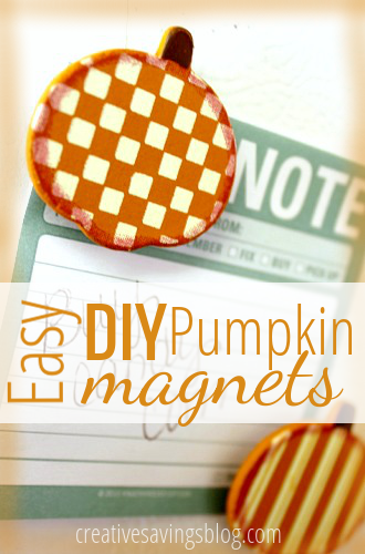 If you have 5 minutes to spare, & $5.00 to spend, you can make these cute DIY pumpkin magnets for your fridge!