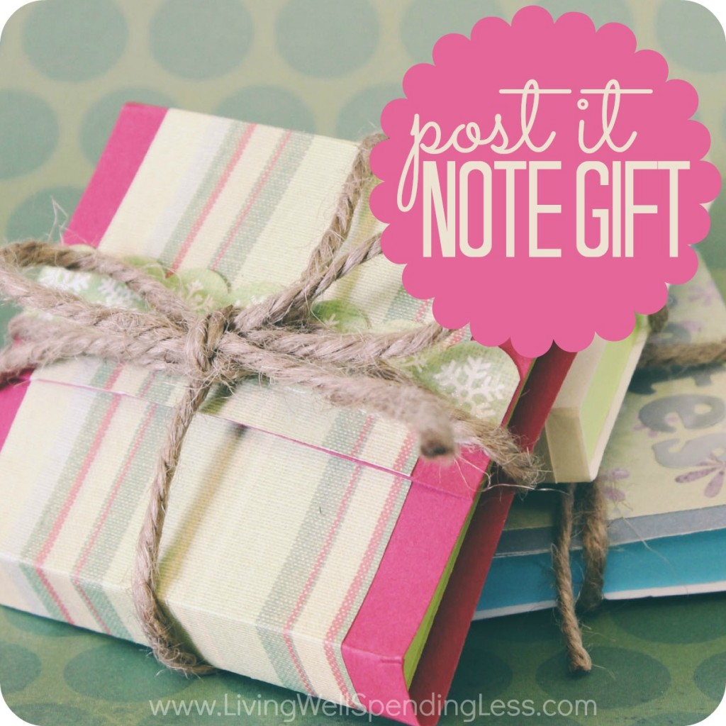 If you need last minute gifts or stocking stuffers, these pretty post-it gifts are sure to please. Customize and embellish to match the season, then tie with a simple ribbon!