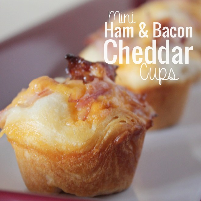 Mini appetizers are some of my favorite foods, and these Ham and Bacon Cheddar Cups are hearty enough to hit the spot!