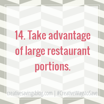 Need a creative way to save $$ while eating out? Here's how to turn large restaurant portions into 2-3 extra meals!