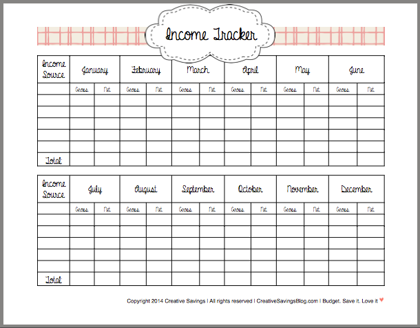 Printable Income Tracker : Creative Savings