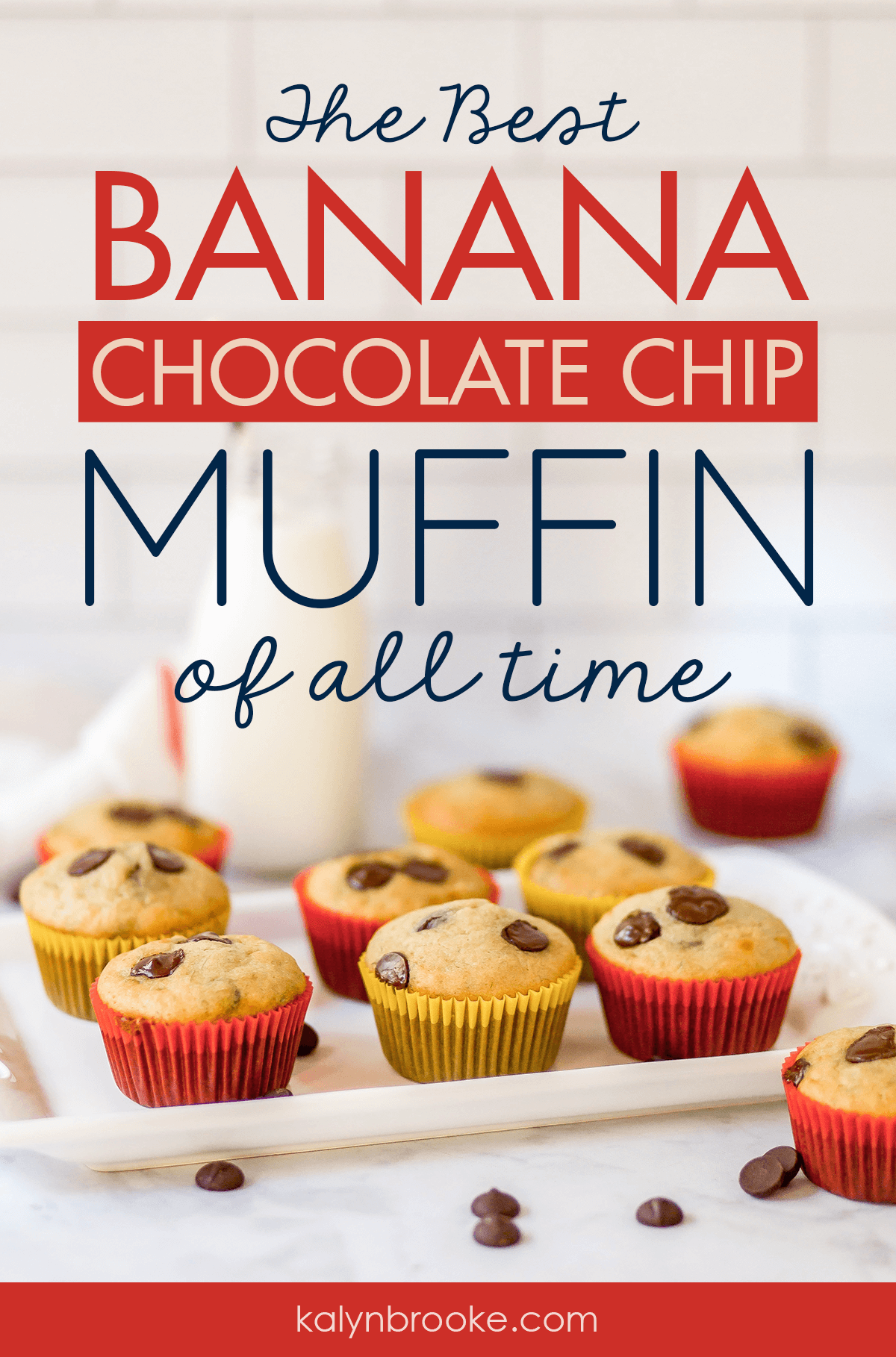 I've been searching for a filling, on-the-go breakfast and finally found it in these muffins! I make a dozen or two on the weekend and I'm good to go all week! Plus, now I know what to do with those overripe bananas I seem to always have on hand! #muffinrecipe #easymuffinrecipe #bananachocolatechipmuffin #chocolatechipmuffin #bananamuffinrecipe