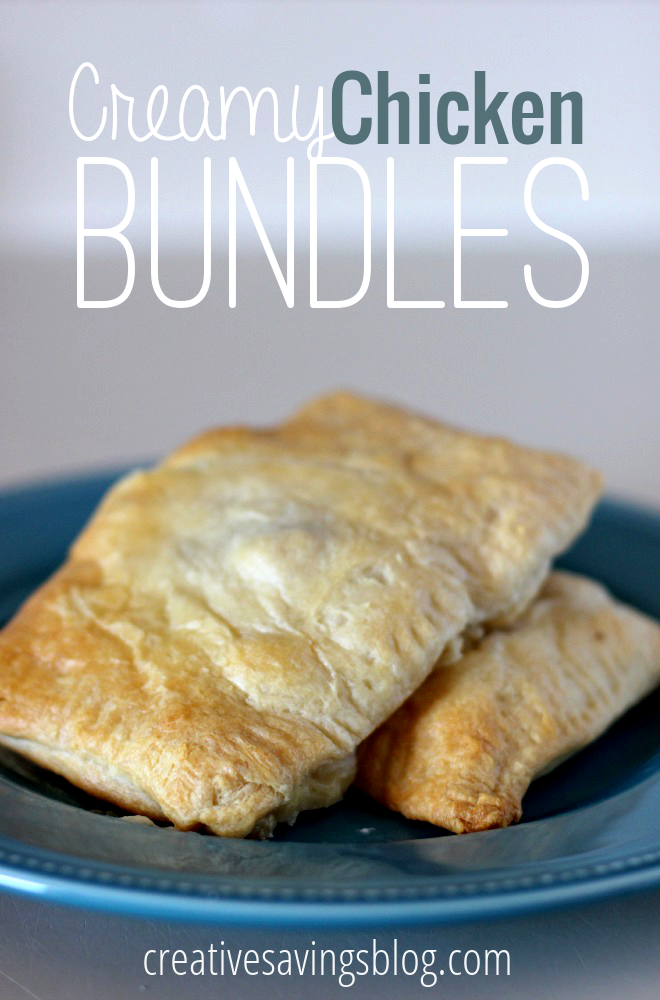 Canned crescent roll dough and pre-cooked meat are all you need to make these creamy chicken bundles on a busy weeknight! #chickenbundles #easymeals #easyweeknightmeals #quickeasyrecipe #quickdinner #easyweeknightrecipe #crescentrollideas