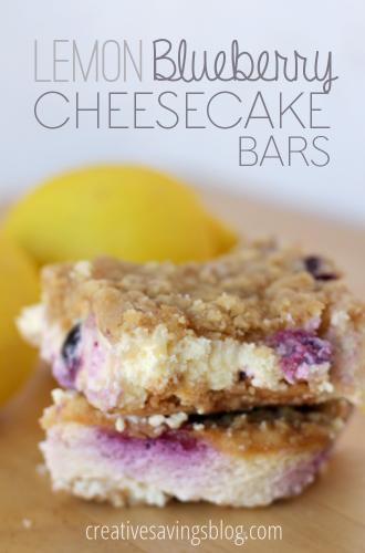 These lemon blueberry cheesecake bars will seriously take you to another world. You will love the creamy center and crunchy topping! #lemonrecipes #blueberryrecipes #creamcheeserecipes #lemonblueberrycheesecakebars #cheesecakebars