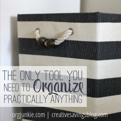 Don't waste money on expensive organizing supplies. You can organize practically anything with a simple basket from the dollar or craft store!