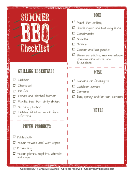 Download this free summer BBQ checklist and ALWAYS remember what to bring for your next picnic. Also includes extra space for notes!