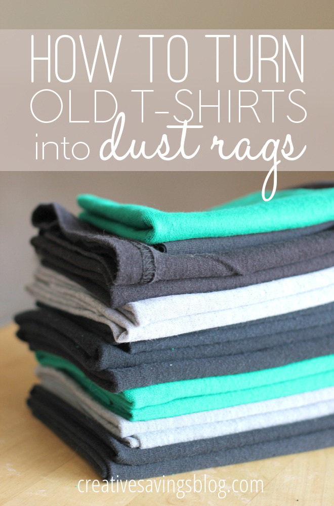 I didn't know what to do with all the tees from high school and college that were stained, had holes, and generally weren't good enough to donate, but now I do! I've turned all of those old, holey tees into dust rags, and the secret to getting crisp edges every time works like a dream! #oldtees #oldtshirtuses #ideasforoldtshirts #diydustrags #homemadedustrags
