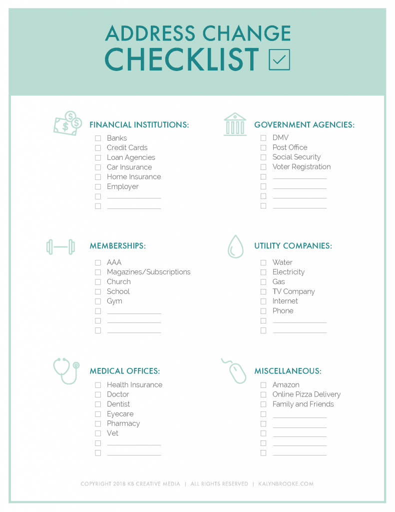With so much to think about during our move, I couldn't even BEGIN to remember all the places I needed to change our address. This FREE address change checklist printable works like a charm! I'm checking places off one-by-one and I'm going to keep it handy for our next move (if we ever do this again!). #printables #movingtips #checklist