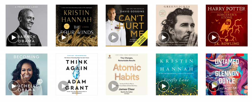 covers of audiobooks