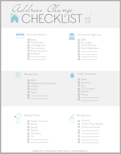FREE Address Change Checklist Creative Savings – Free Change of Address