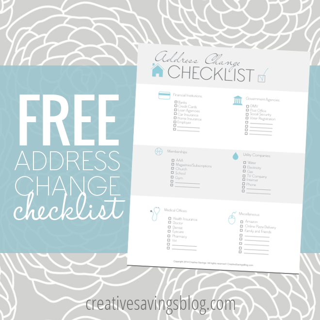 This FREE Address Change Checklist Is A Handy Reminder For Anyone Who Is  Considering A Big  Free Change Of Address