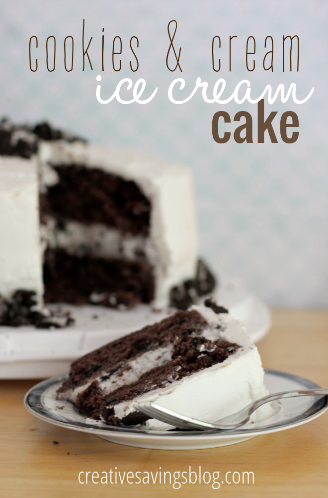 OMG! This Oreo Ice Cream Cake looks delicious!!!! I must have this....now! Oreos in the cake, Oreos in the ice cream, and Oreos on top!?! YES Please! This is going to be my next birthday cake instead of Carvel or Dairy Queen. #oreoaddict #oreo #icrecreamcake #cookiesandcream #cookiesandcreamcake #oreocake