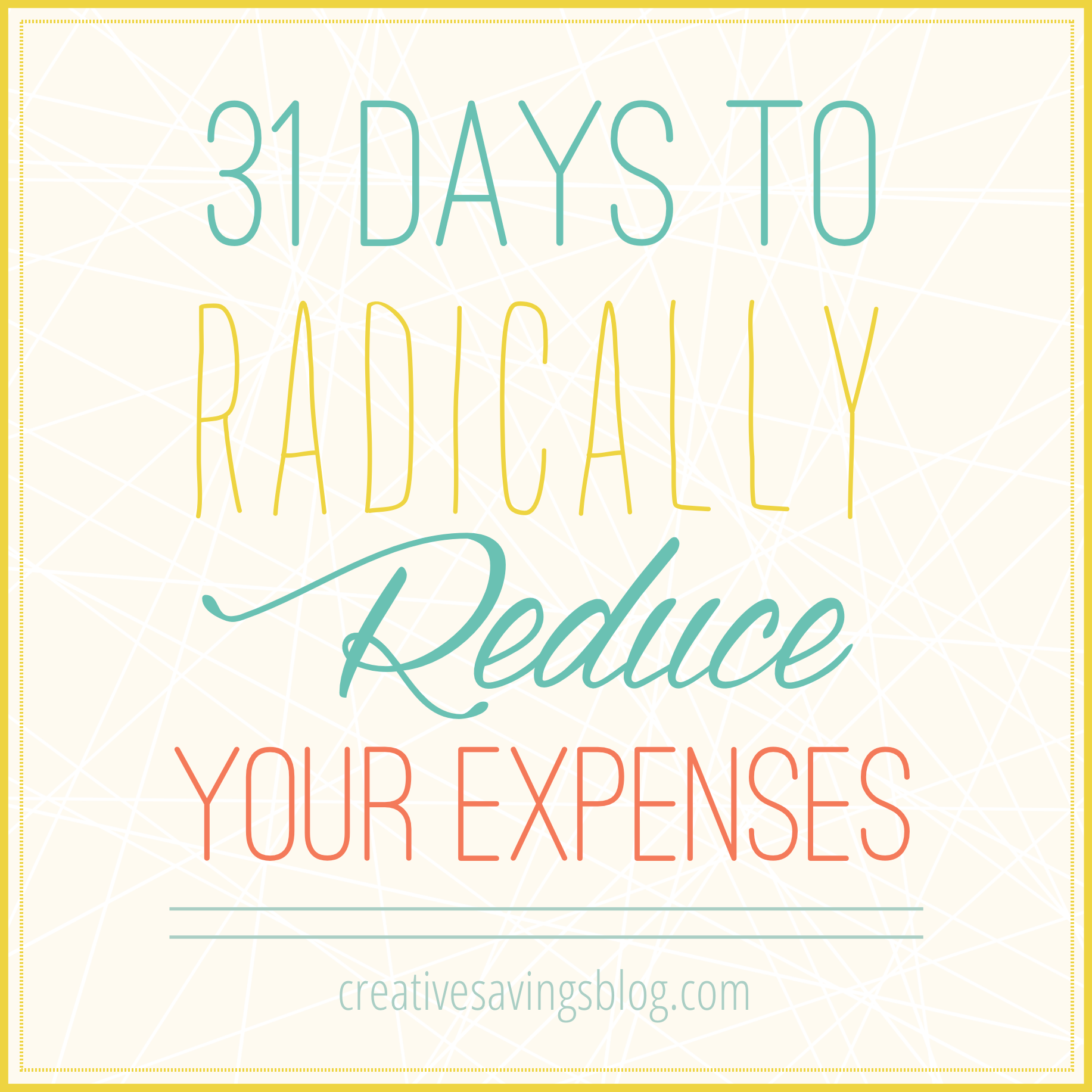 If monthly payments are taking control of your budget, you don't want to miss this 31 Days Series to Radically Reduce Your Expenses.