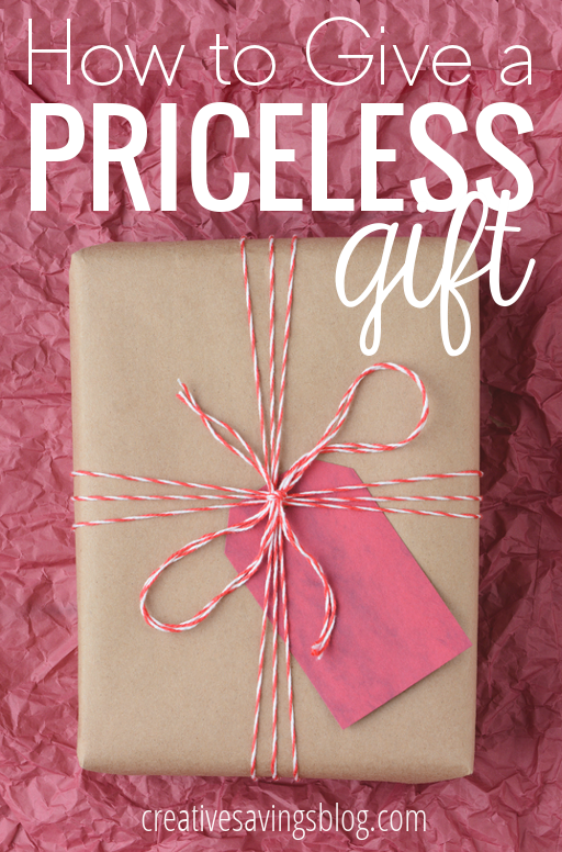 Rethink traditional gift-giving and learn what REALLY counts when you give a meaningful gift. Also includes a resource with loads of priceless gift ideas!