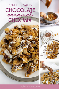 So I had NO idea what to bring to my company's get-together until I stumbled upon this recipe! I was hesitant at first, because I thought it was similar to Muddy Buddies and those are AMAZING but messy. THEN I realized this sweet and salty chex mix recipe is the perfect combination of yumminess and snackable bite-size pieces. Everyone ADORED the scrumptious, yummy, chocolately version of this classic snack, and I've shared the recipe multiple times! #chexmix #chexmixrecipe #sweetchexmix