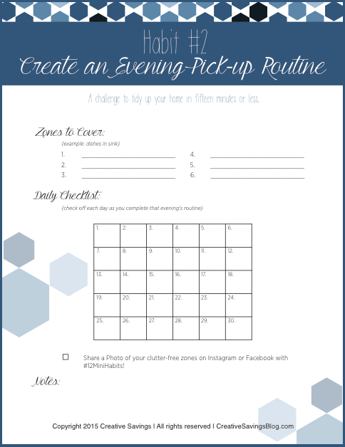 Deep cleaning your home takes time, but you can enjoy a clutter-free space with a 15-minute evening pick-up routine! Use this FREE printable to get you started, and keep you accountable throughout the month.
