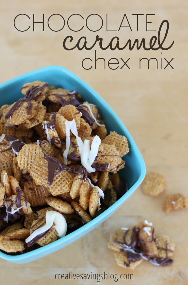 Bring this sweet chex mix recipe to your next party or separate into zip-top bags and throw into school and work lunches. Everyone will love the scrumptious, yummy, and chocolately version of this classic snack!