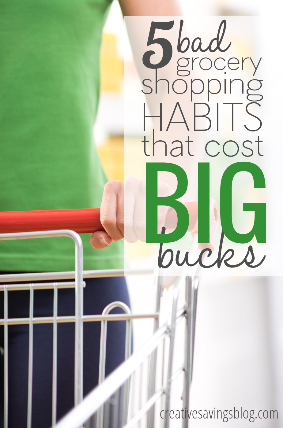 Stop wasting your hard-earned dollars with bad grocery shopping habits that literally take minutes to change. With consistent practice, you'll not only learn to shop smarter, you'll also shave hundreds off your bill!