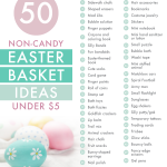 So Easter snuck up on me this year, so I started searching the Internet like mad for inexpensive Easter basket ideas. I'm searching no more! Voila! These 50 fun and creative Easter basket ideas cost less than $5, and don't include any sugar or chocolate! So my wallet's grateful, my kids won't go crazy, and we can celebrate the holiday happy!