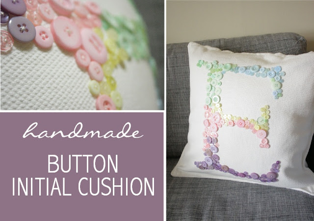 Button Pillow Monogram DIY | Frugal Uses for Buttons
