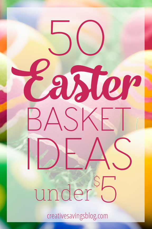 So Easter snuck up on me this year, so I started searching the Internet like mad for inexpensive Easter basket ideas. I'm searching no more! Voila! These 50 fun and creative Easter basket ideas cost less than $5, and don`t include any sugar or chocolate! So my wallet's grateful, my kids won't go crazy, and we can celebrate the holiday happy! #easterbasketideas #inexpensiveeasterbasket #frugaleaster #cheapeasterbasket #easterbaskettips