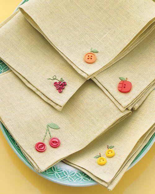 Embellished Napkins | Frugal Uses for Buttons