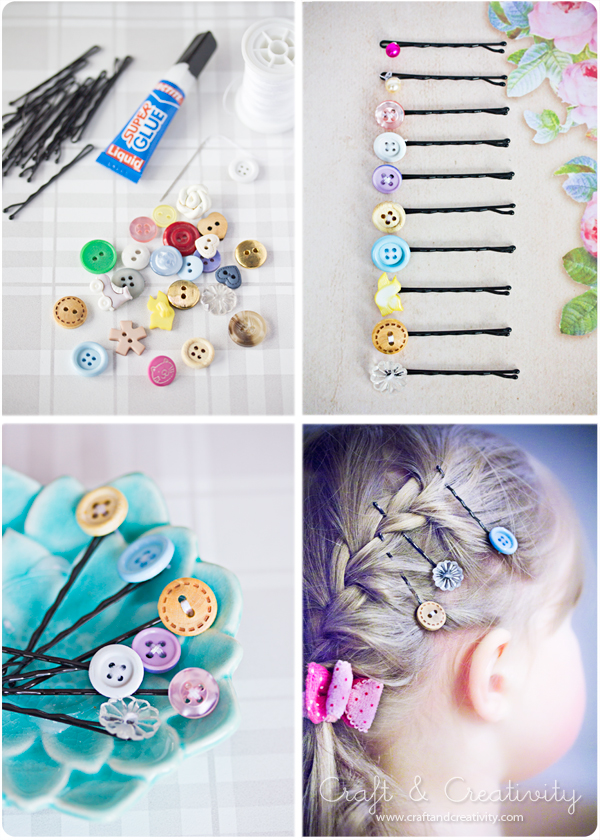 Button Hair Pins | Frugal Uses for Buttons
