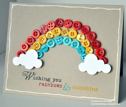 Rainbows & Sunshine Card | Frugal Uses for Buttons