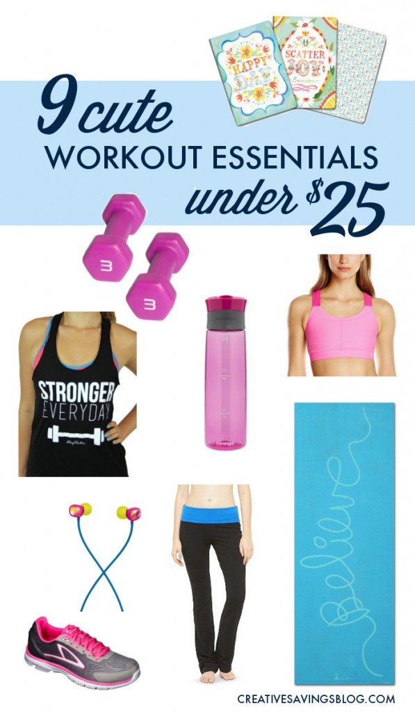 You don't need expensive supplies to exercise! This list features all of my favorite {and cute} workout essentials, and the best part is, they all come in under $25 -- some even cost much less!