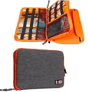orange electronics organizer pouch