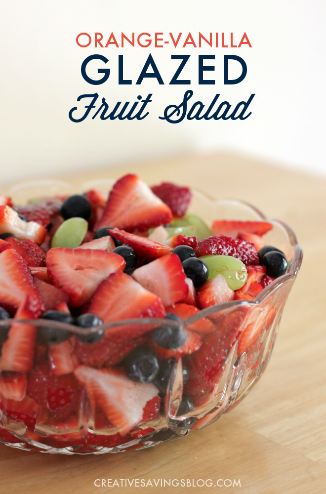 This looks so good! I'm a sucker for fruit salad and I'm going to bring this to my next family gathering. Even more perfect: I can use in-season produce to make it a frugal side dish! #fruitsalad #fruitsaladrecipe #glazedfruitsalad #fruitrecipe #summerrecipe