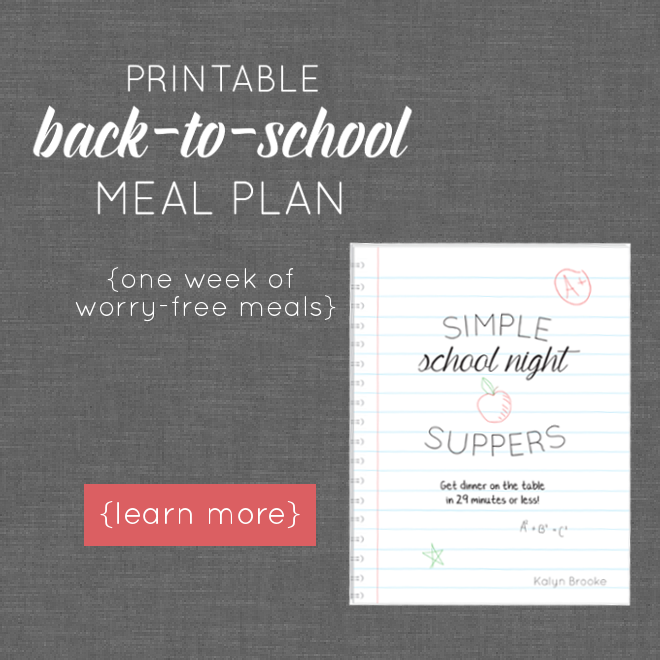 Does the school year have you panicking about what to make for dinner? It shouldn't! These simple school night suppers are perfect for busy weeknights, and won't leave you stranded in the kitchen all afternoon. They're kid-friendly and parent-approved, and go from grocery bag to dinner table in 29 minutes or less!