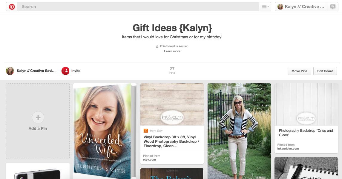 Gift Ideas Pinterest Board