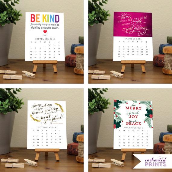 Printable Desk Calendar by Enchanted Prints