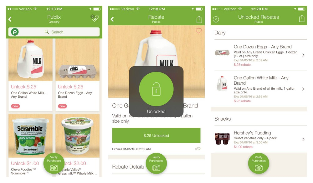 3 Screenshot of the Ibotta app - shows product screen, product being unlocked, and then a list of unlocked rebates.