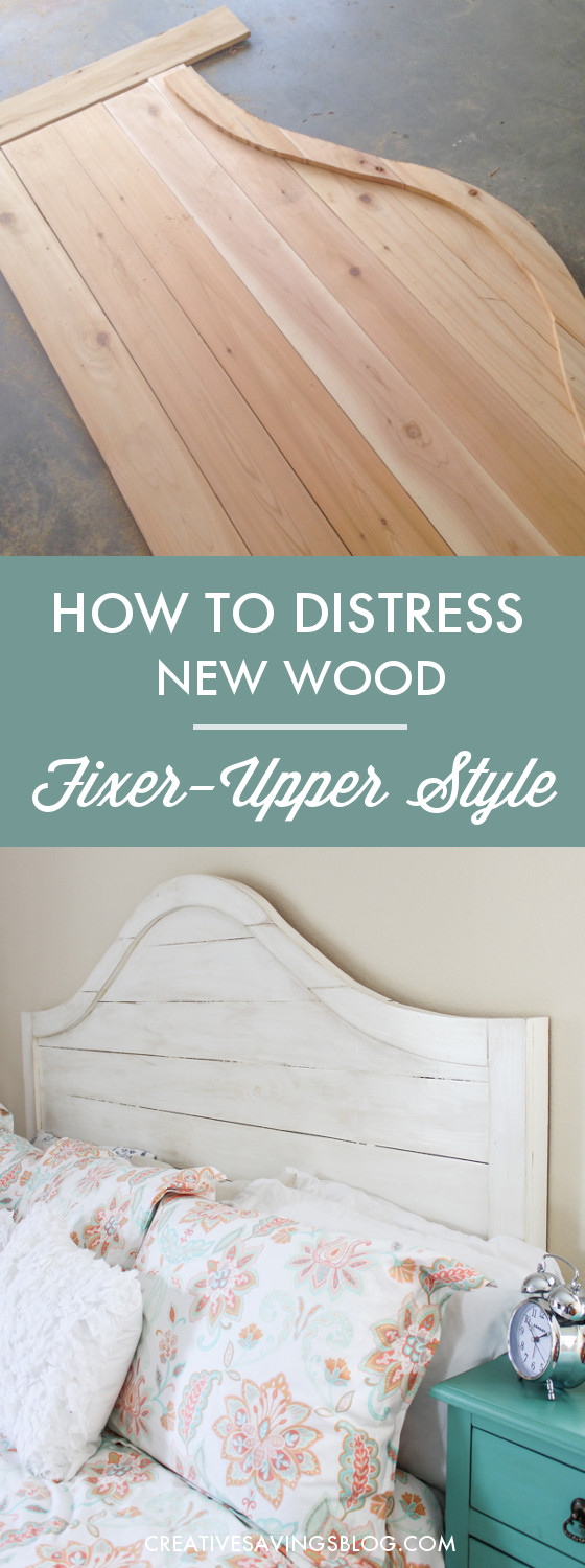 If you love HGTV's Fixer Upper, you'll love this super simple distressing technique. It makes new wood look old with Joanna Gaines' signature Rustic Farmhouse and Shabby Chic style. In fact, this headboard is an exact replica of the one she has in her own bedroom! #joannagaines #distressnewwood #fixerupper #fixerupperheadboard #shabbychic