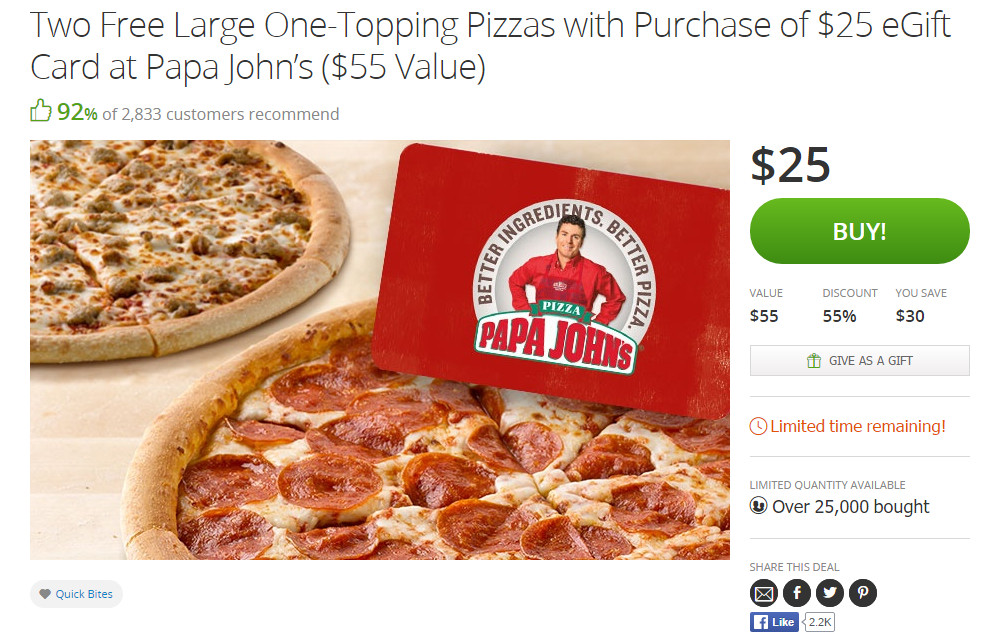Papa Johns Groupon Deal