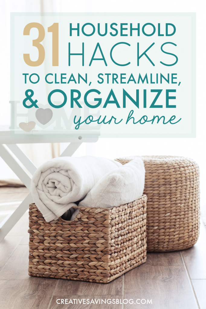 How did I not know about these?? The housework is piling up faster than I can keep up with, and these household hacks include the best tips I've seen to streamline and organize everything. I can't wait to implement some of them this weekend! #householdhacks #productivity #cleaning #organizing #streamlining #simplifying #cleanhome #organizemyhouse