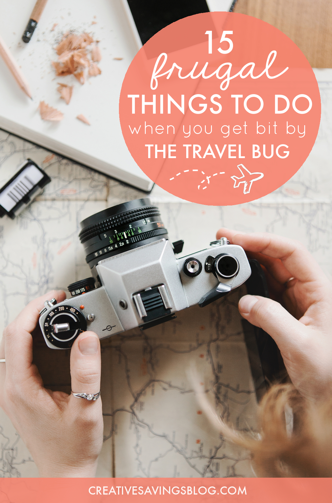 Have you been bitten by the travel bug? These 15 frugal ideas help you dream, plan, and fill up your travel fund as soon as possible. You'll also find clever ways to create travel-like experiences right at home! #frugaltraveling #travelbug #wanderlust #traveling #creativewaystotravel #frugalliving