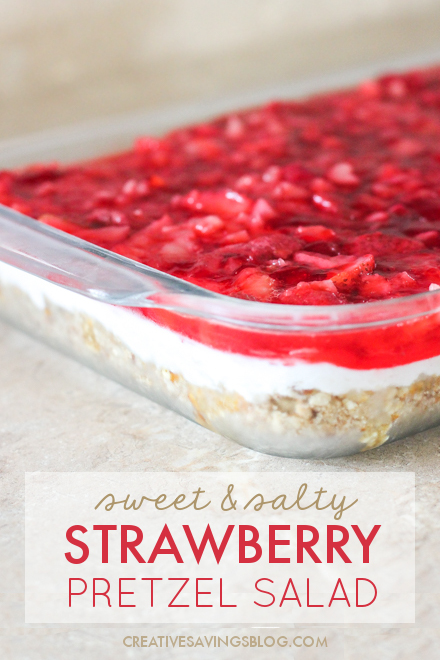 This Strawberry Pretzel Jello Salad is an irresistible mix of sweet and salty with just enough creaminess in the middle to balance both. It's almost like a dessert, but I prefer to call it a side dish. That way you can have an extra treat without all the guilt! #strawberrypretzelsalad #strawberryrecipes #pretzelrecipes #sweetandsalty #sweetandsavory #potluckrecipe