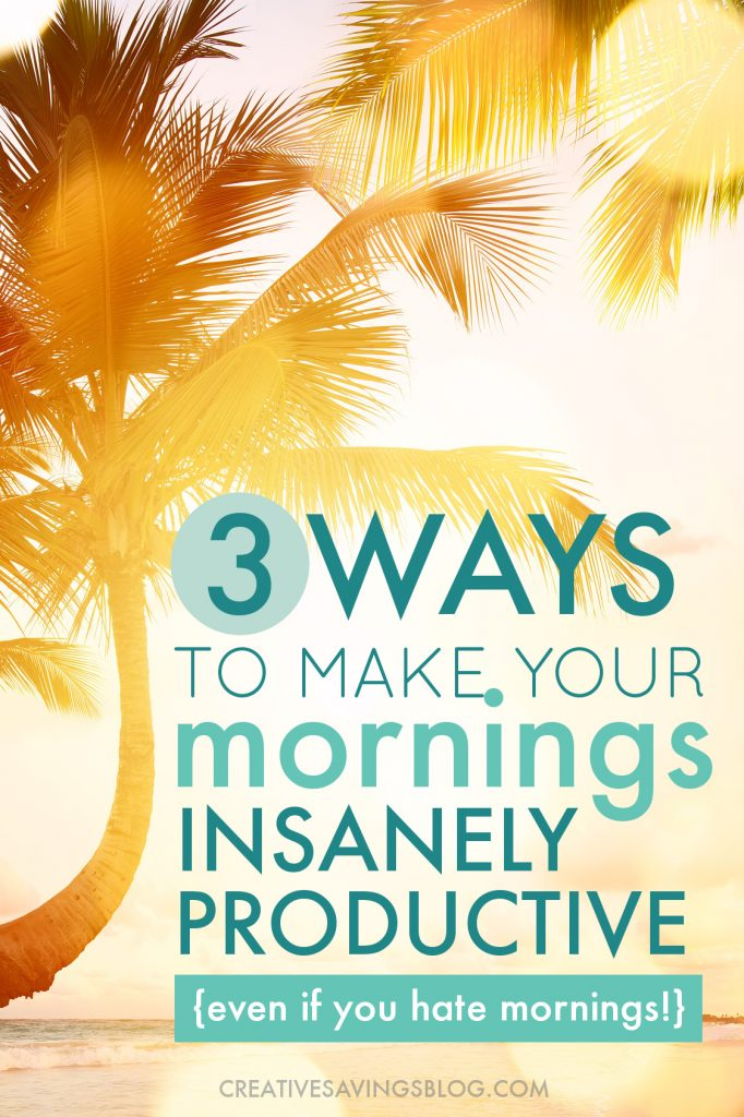 This is exactly what I was looking for! Normally, these posts try to turn me into a morning person, and almost always start with waking up at 5am. That's nice and all but I can't wake up that early!! Can we say zombie until at least 8? Anyway, these tips for getting stuff done in the morning are perfect for anyone, whether you're an early-bird...or night-owl like me. #morningperson #not #productivemornings #makeoveryourmornings
