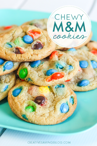 Need a cookie recipe that results in sugary perfection? These Chewy M&M Cookies taste SO GOOD and freeze well too! They're an easy-to-tote addition to parties, movie nights, bake sales, etc, and almost everyone I know is obsessed with this recipe. Be prepared to hand out multiple copies to your guests! #cookierecipe #chewycookes #candycookies #easycookierecipe #kidfriendlycookies