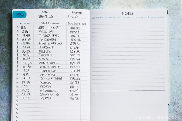 spending tracker in a notebook is one of many budgeting systems