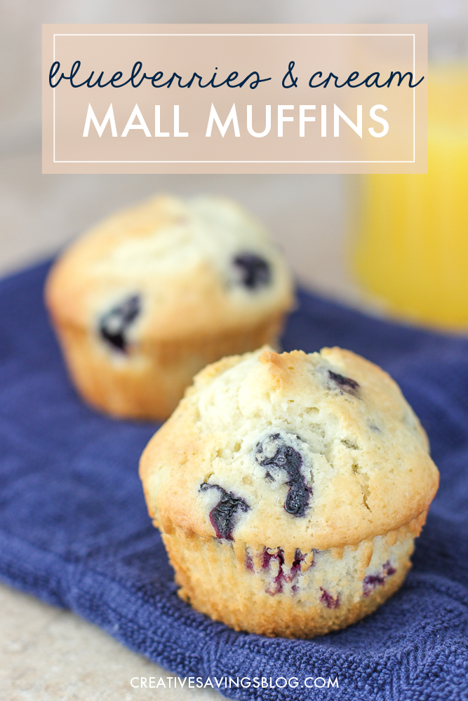 These Blueberries and Cream Mall Muffins are To. Die. For. It's like you're biting into a slice of heaven! I'm not exaggerating when I say this recipe makes the best blueberry muffins EVER. I like to freeze a double batch, then use them for mid-morning snacks or a quick breakfast on the road. All you have to do is warm in the microwave for a fresh-from-the-oven indulgence! #blueberrymuffinrecipe #blueberrymuffins #blueberryrecipe
