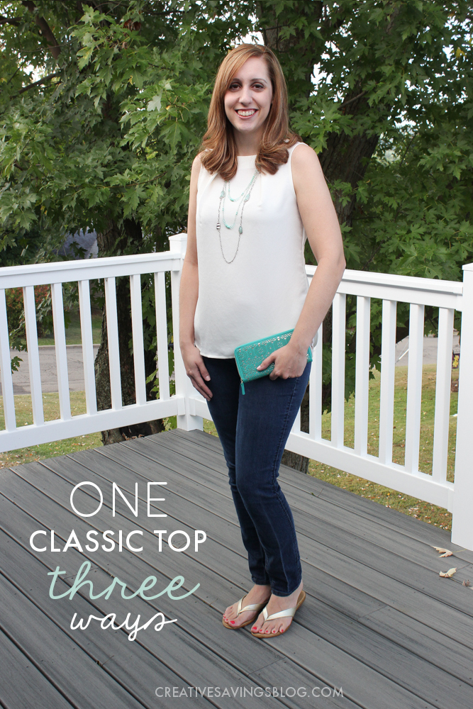 Score more mileage out of your clothes by pairing a classic white top for a variety of looks! Here's how to go from casual to dressy with just a few simple swaps.