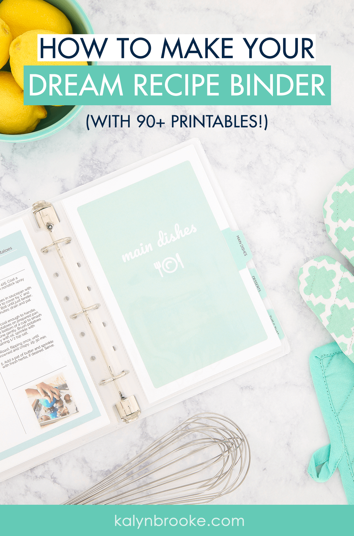 I've known for a long time that I needed to organize my recipes, but just looking at a dozen cookbooks and hundreds of loose papers always made me put it off—I was simply too overwhelmed! Until now. This printable recipe binder kit shows you step-by-step how to declutter, categorize, & organize everything in a more efficient way. My favorite recipes are all located in one easy-to-use notebook, and I don't dread meal planning anymore! #organizedrecipes #recipecollection #recipebook #recipebinder